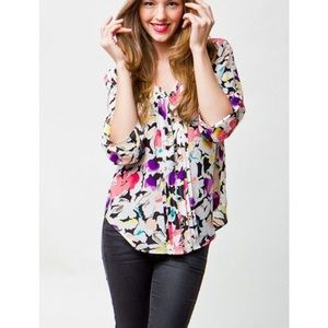 Revolve Yumi Kim Button Front Blouse Floral Small